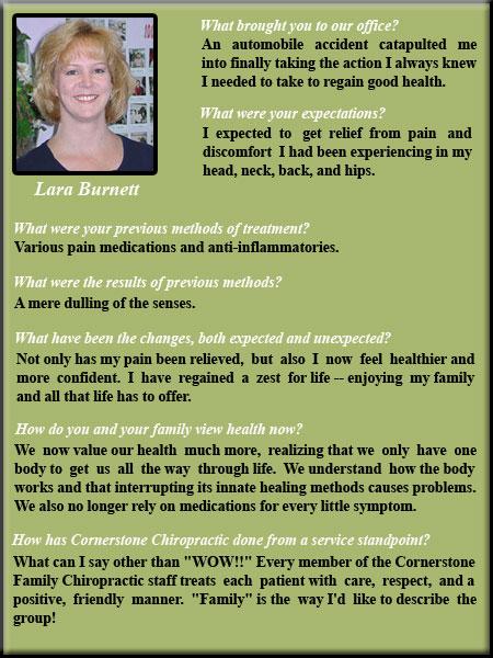 Cornerstone Chiropractic & Spinal Rehabilitation Lynn Testimonial