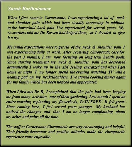 Cornerstone Chiropractic & Spinal Rehabilitation Sarah Testimonial